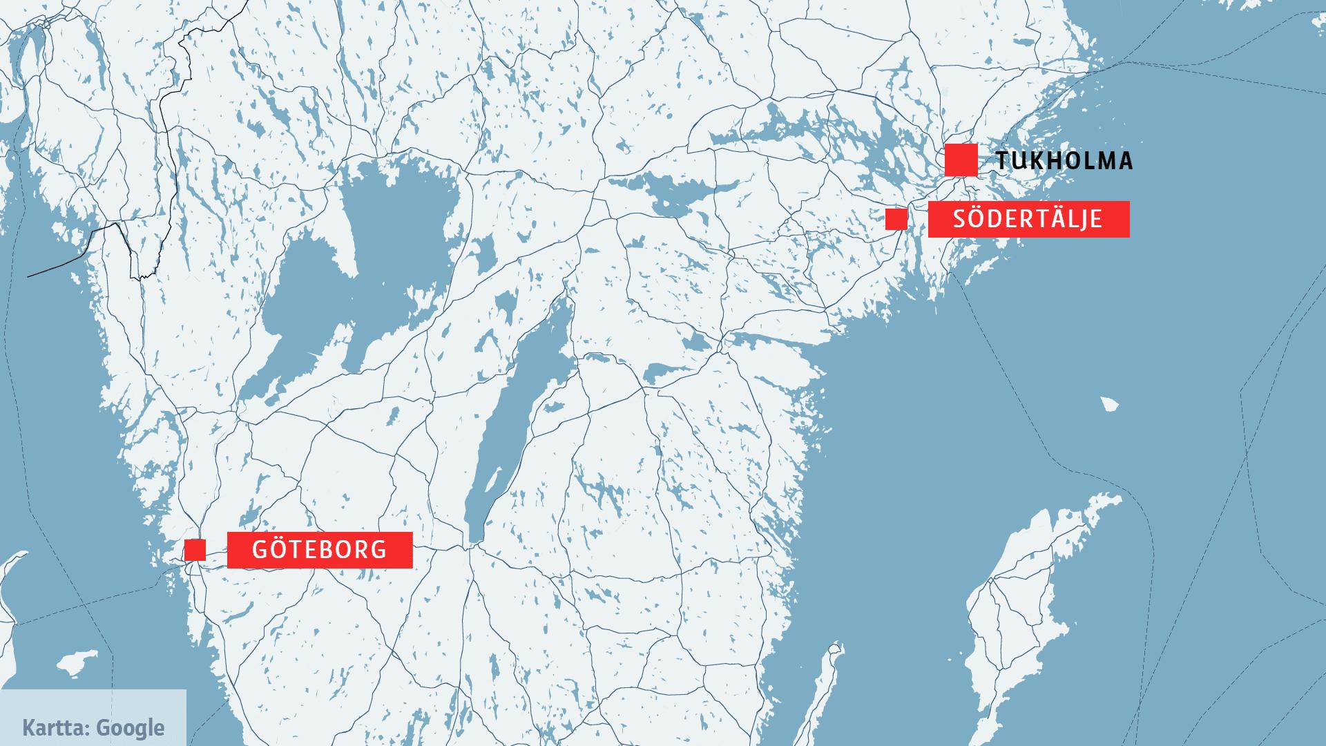 Ruotsin kartta, johon on merkitty Tukholma, Södertälje ja Göteborg.