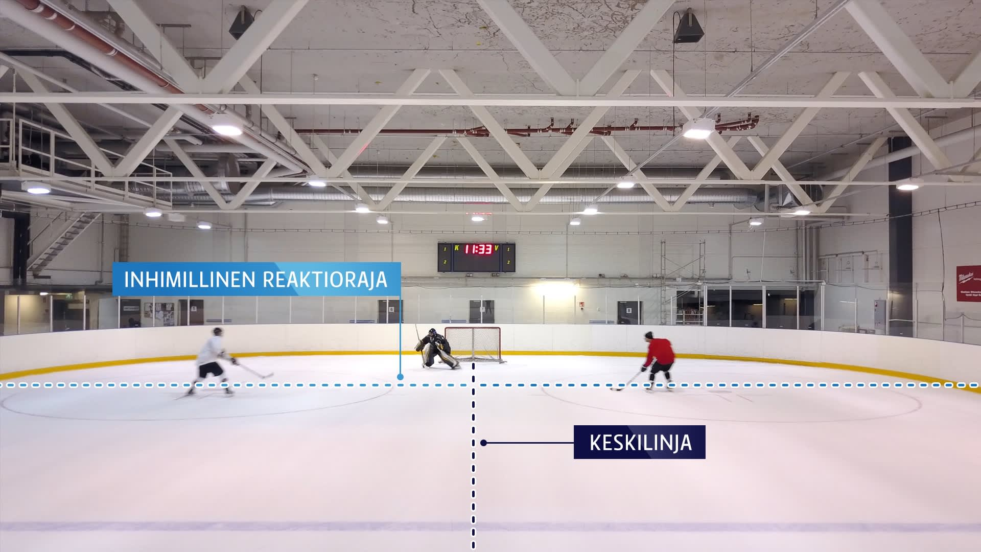Grafiikka jääkiekkokaukalon keskilinjasta