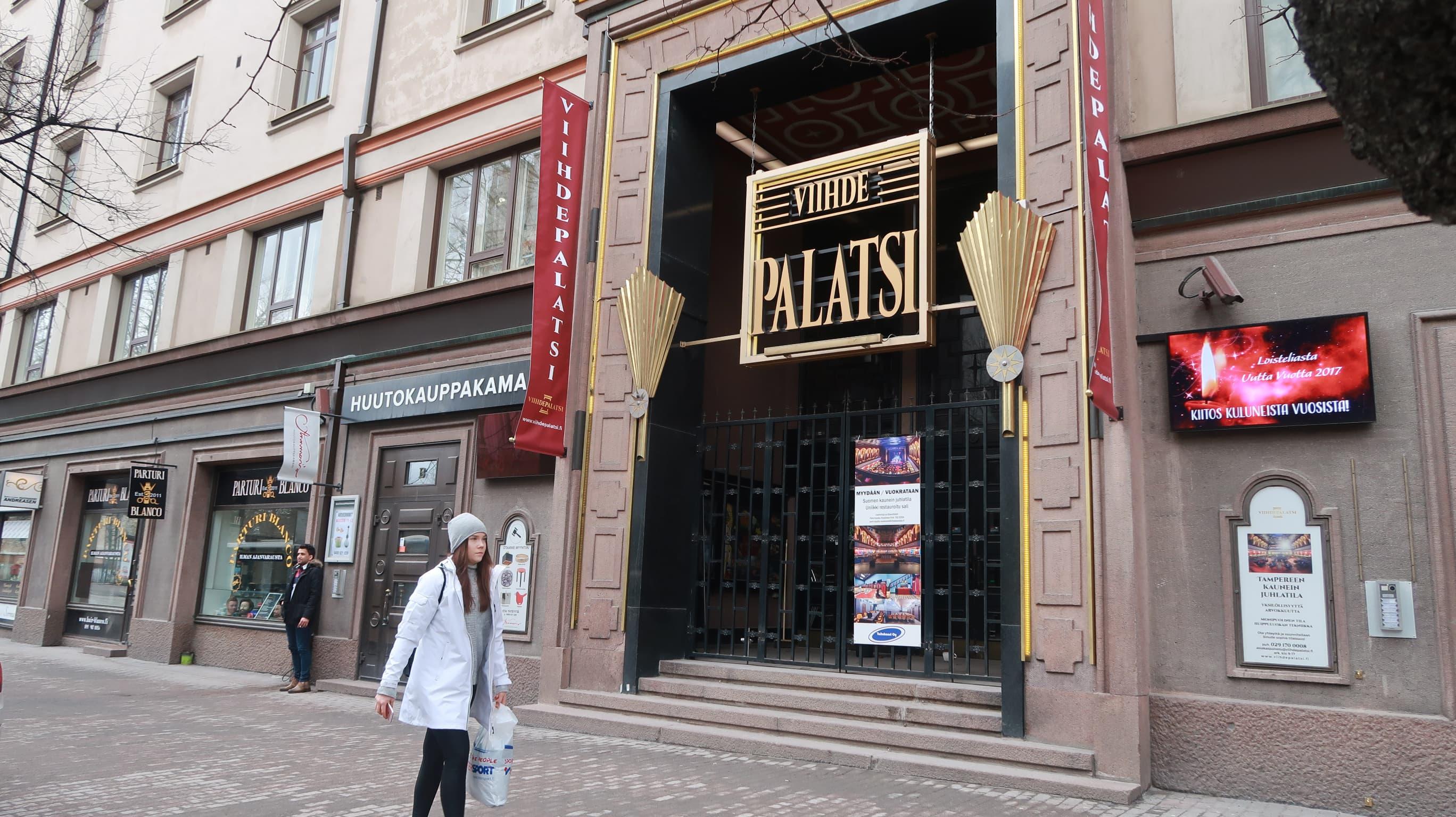 Myynnissä oleva juhlatila Palatsi Hämeenkatu 30:ssä