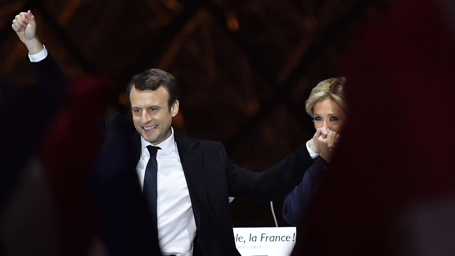 Ranskan presidentti Emmanuel Macron ja vaimonsa Brigitte Trogneux.