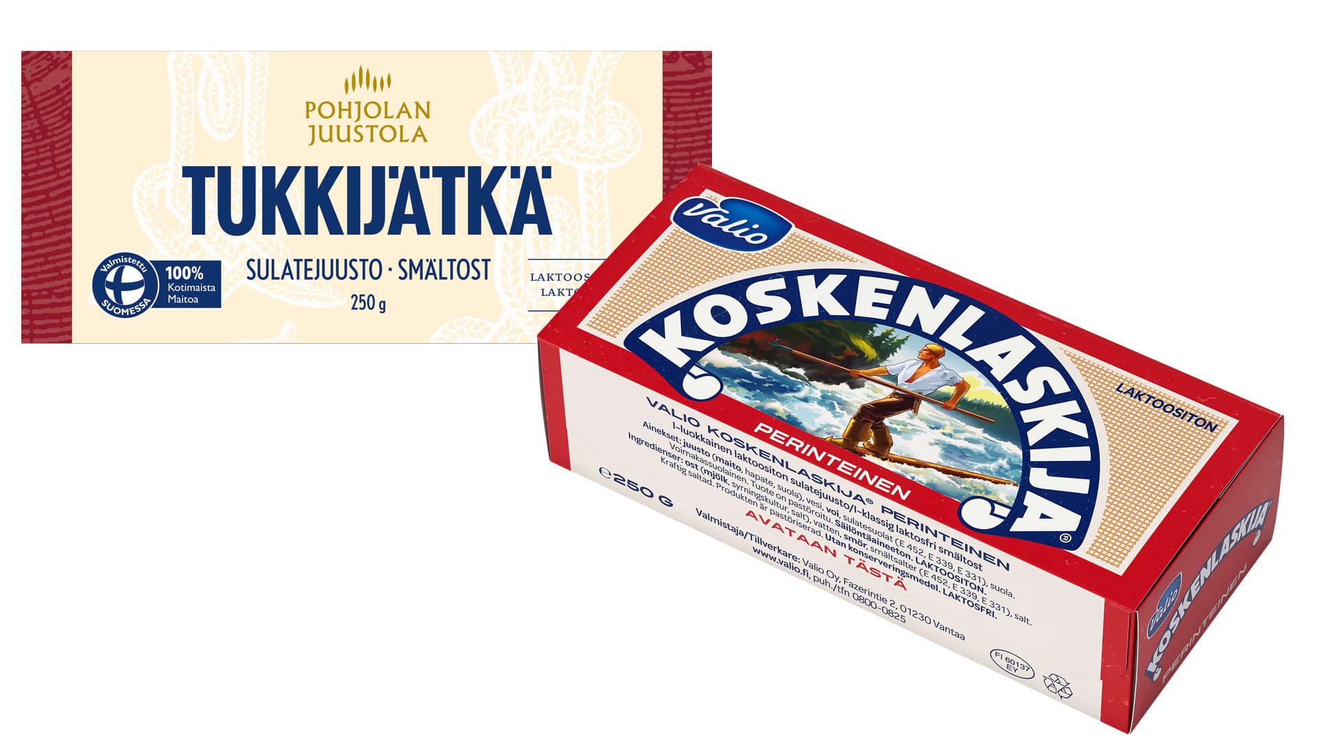 Lidl myy Tukkijätkä-juustoa. Valion Koskenlaskija-juustoa löytyy puolestaan S- ja K-ryhmän kaupoista.