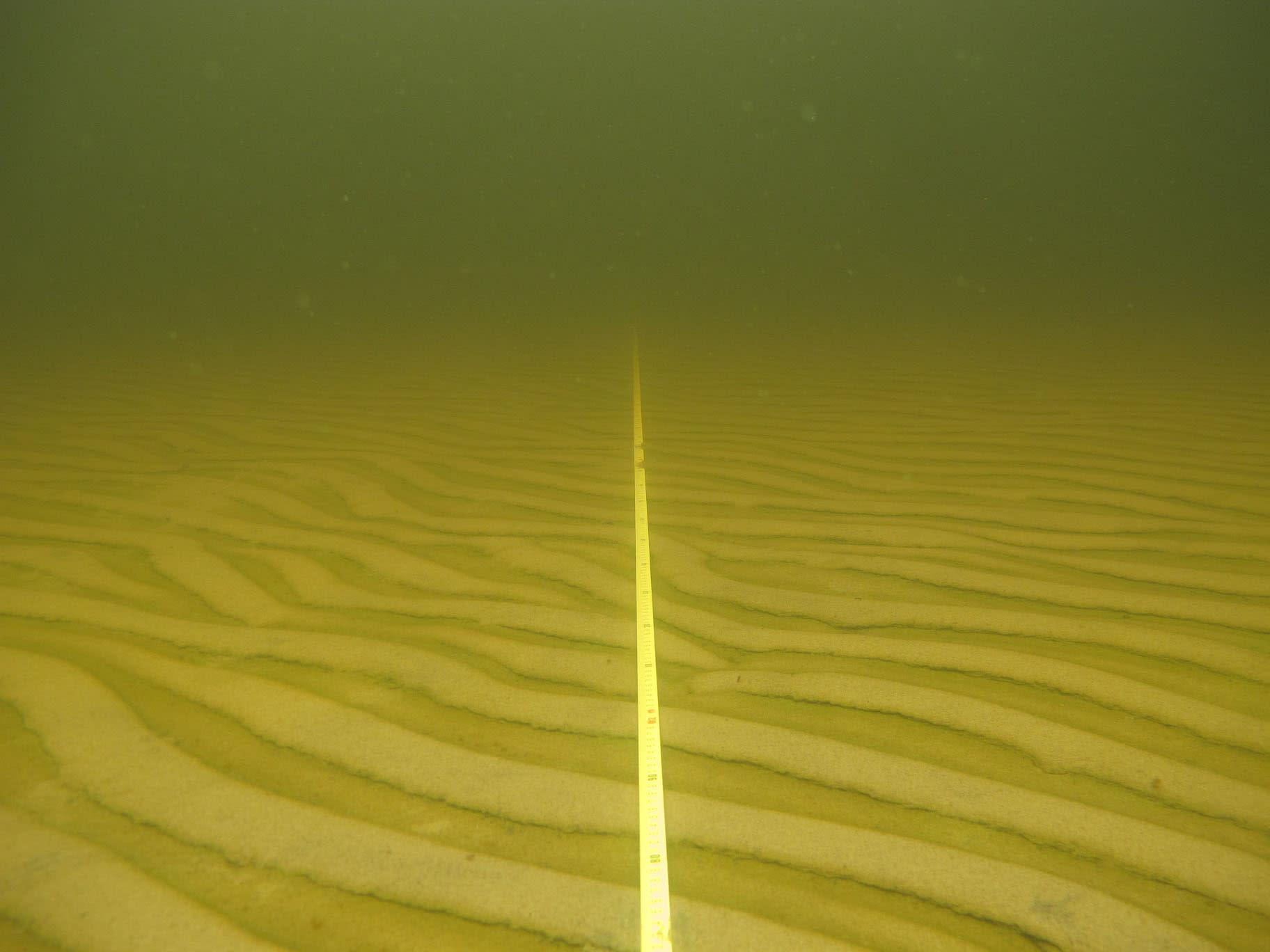 Merenpohjaa ja Metsähallituksen kartoittajien pohjaan laskemaa linjaköyttä