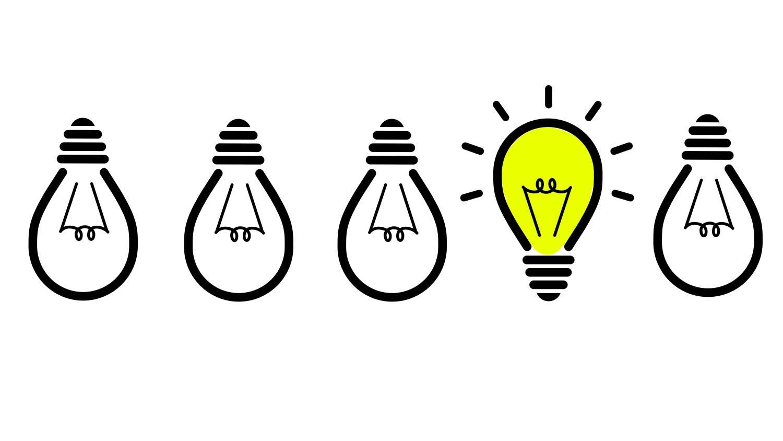 Grafiikka, jossa on hehkulamppuja rivissä.