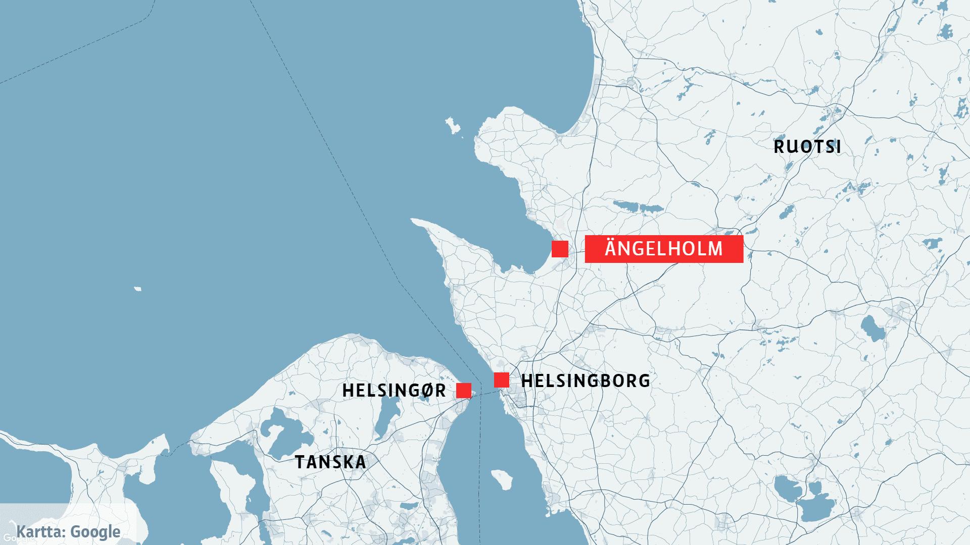 Kartta, johon on merkitty Ängelholm, Helsingborg ja Helsingør.