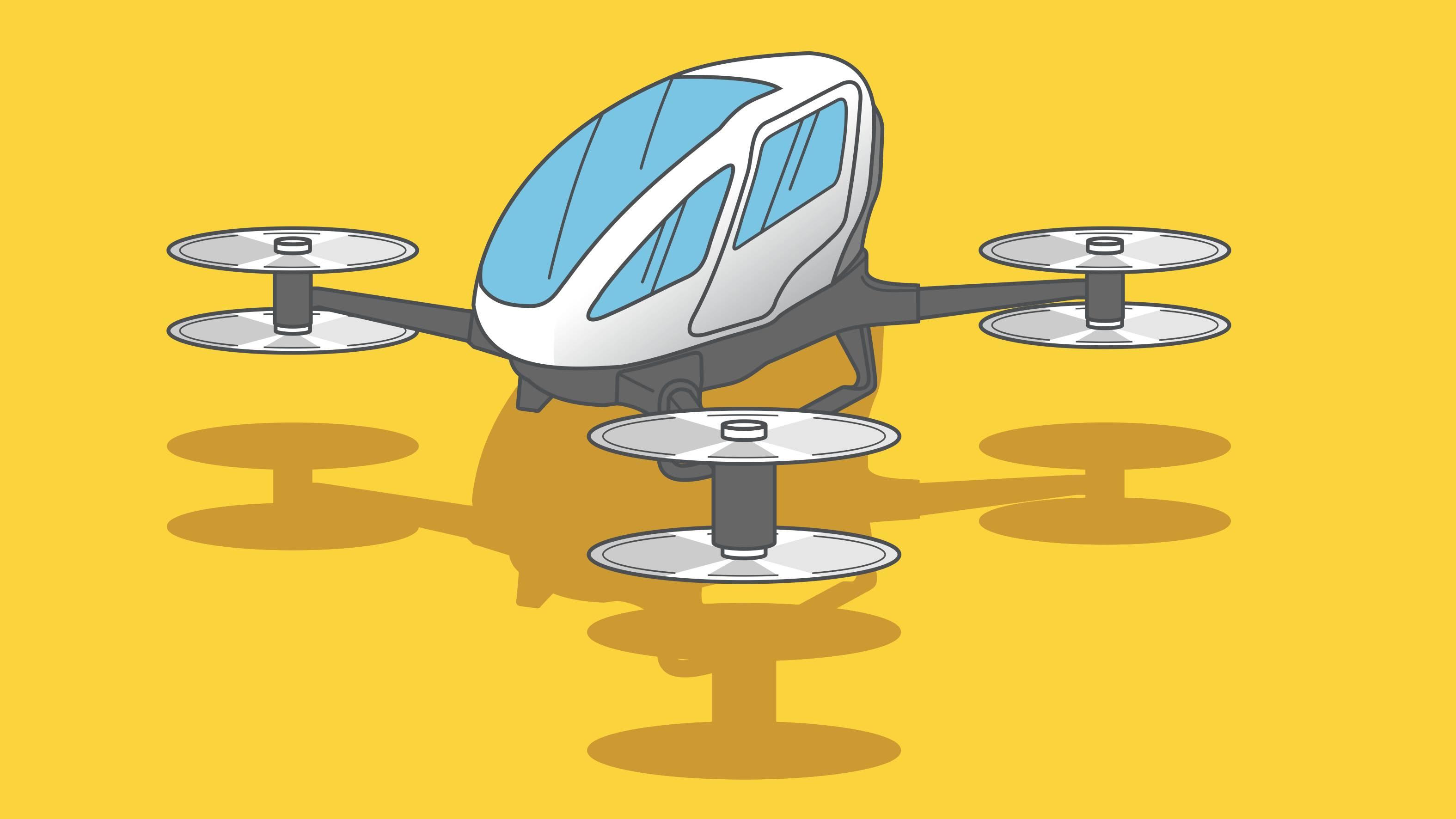 Kuvitus tulevaisuuden lentokoneesta.