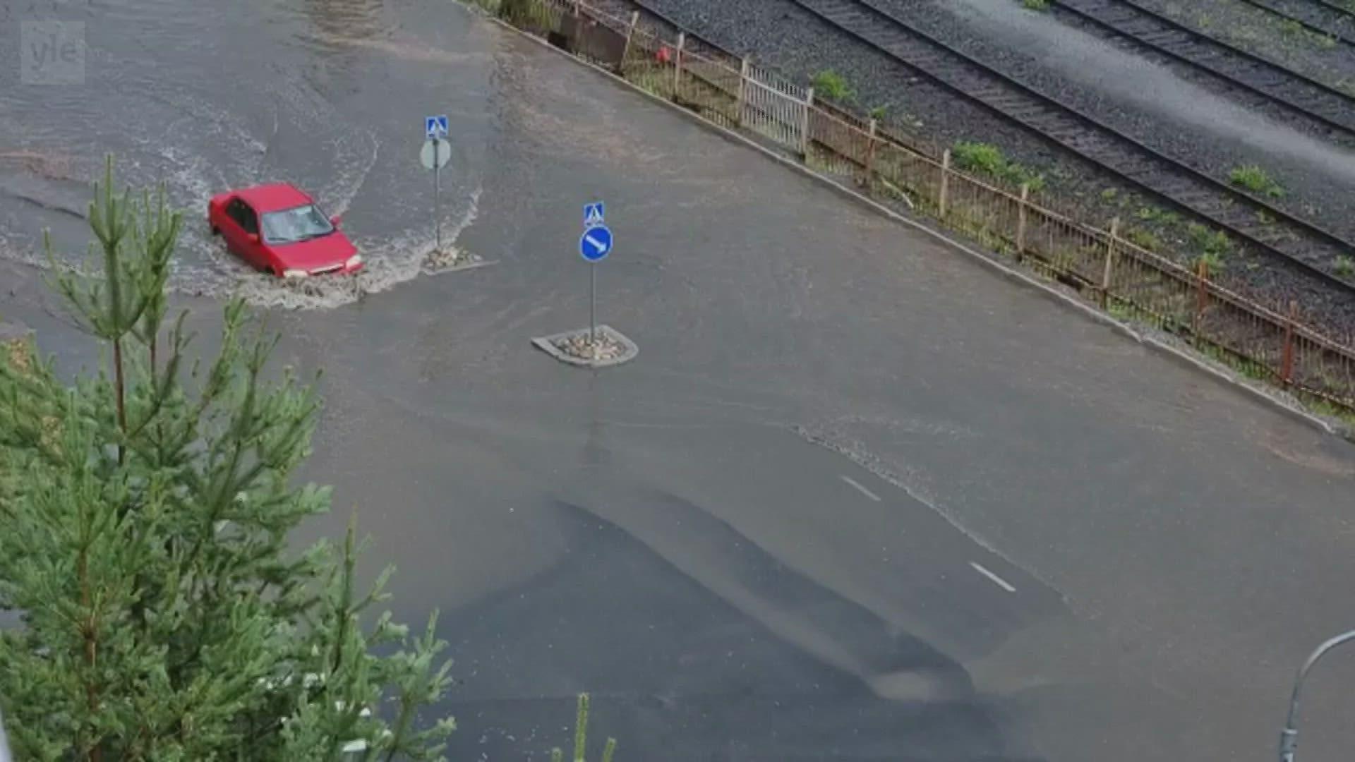 Rankkasade aiheutti hetkellisen tulvan Kuopiossa
