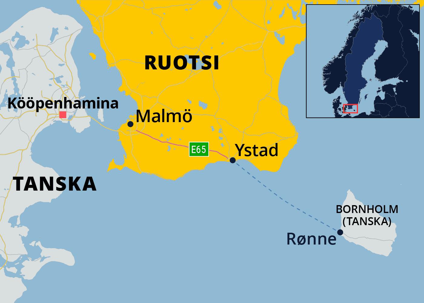 Kartalla Ystad Etelä-Ruotsissa ja Tanskalle kuuluva Bornholmin saari Itämeressä.