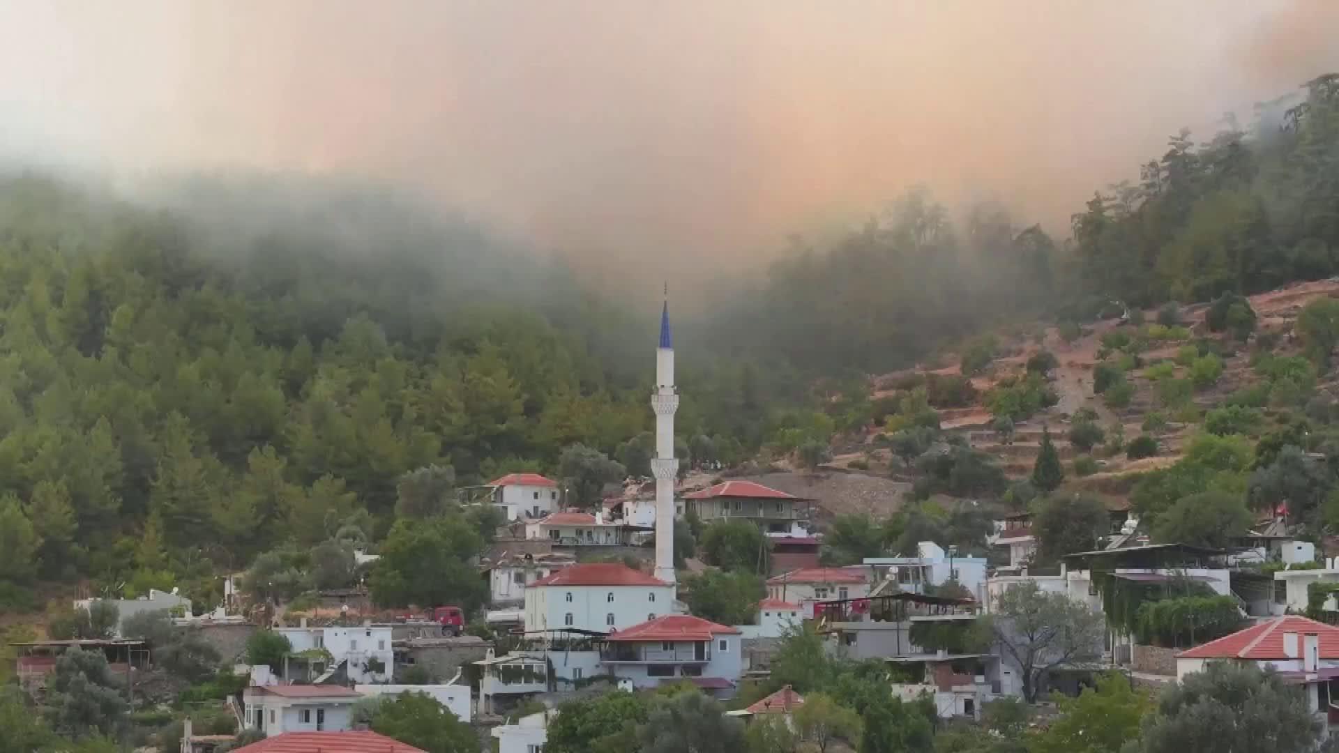 Turkissa tuli tuhosi Milasin kylän metsää - video on nopeutettu