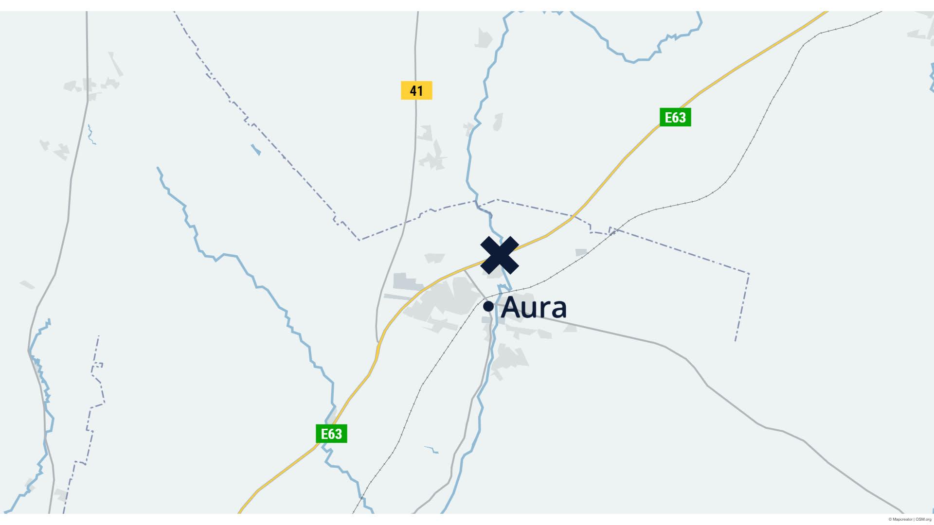 Karttagrafiikka Auran onnettomuuspaikasta