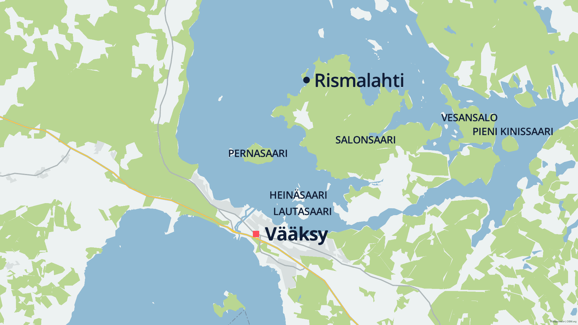Karttakuva, johon on merkitty Vääksy, saaria ja Rismalahti