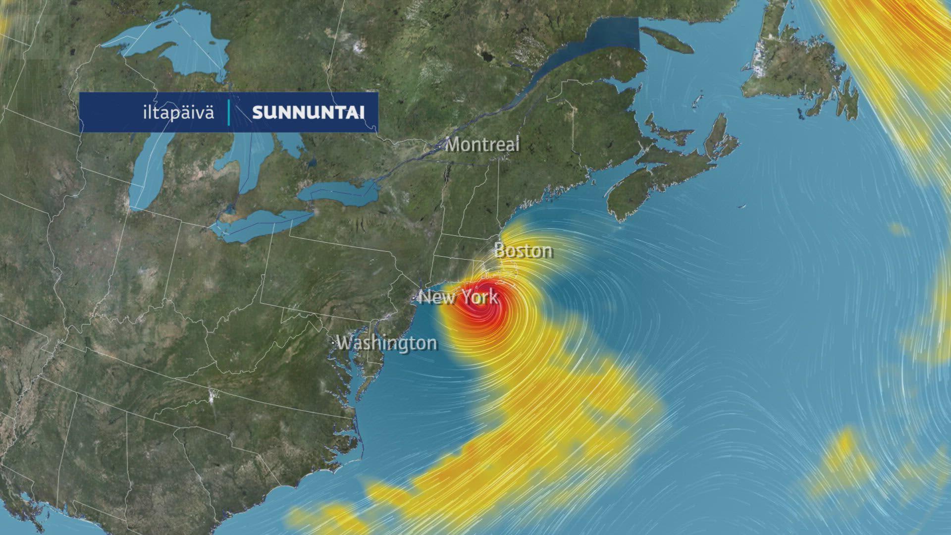 Henri-myrsky rantautuu Yhdysvaltoihin