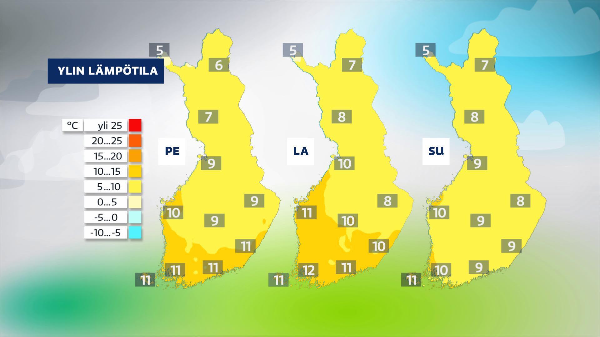 Kolmen päivän lämpötilaennustekuva.
