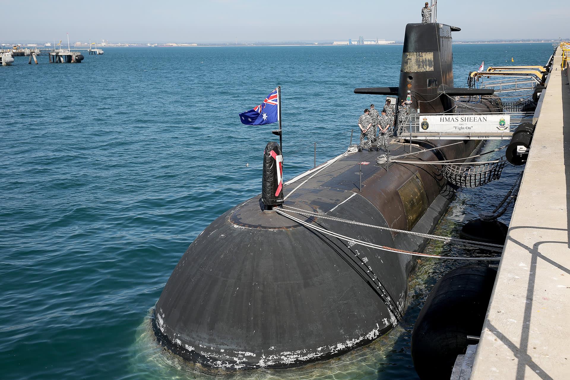 Australialainen sukellusvene HMAS Sheean Stirlingin laivastotukikohdassa lokakuussa 2019.