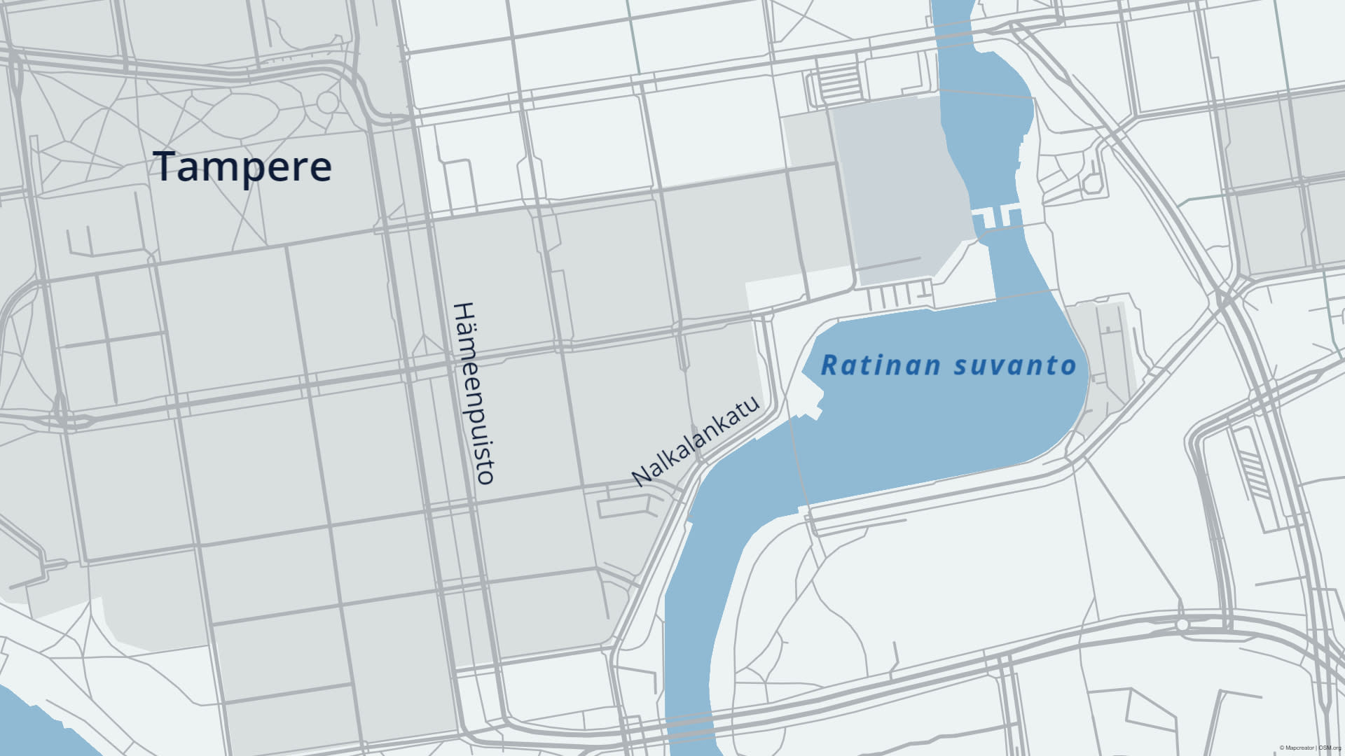 Kartta Ratinan suvannon ja Nalkalankadun sijainnista