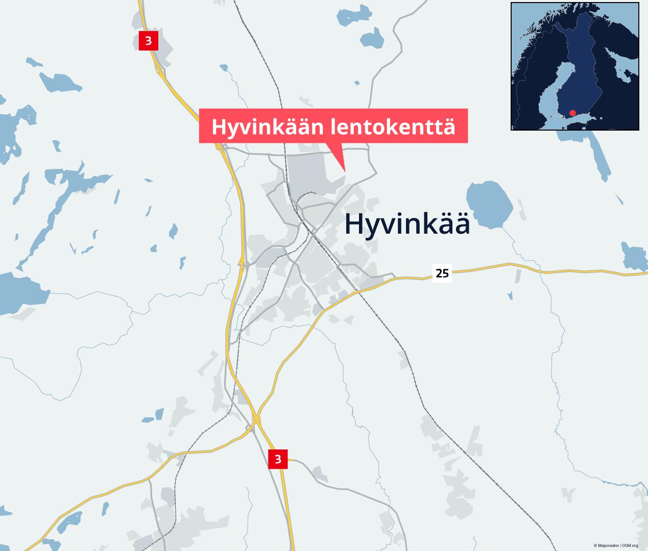 Hyvinkään lentokenttä sijaitsee Hyvinkään keskustan pohjoispuolella.