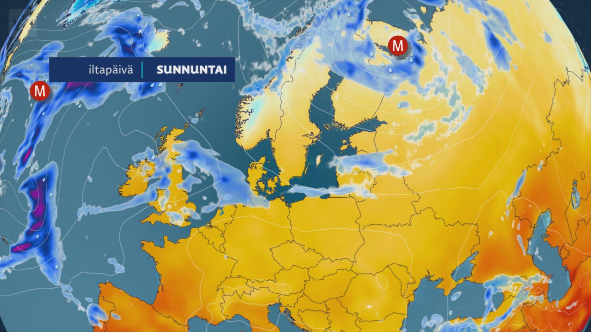 Viikon puolivälin voimakas matalapaine tuo pohjoiseen reilusti lisää lunta. Animaatio: Joonas Koskela / Yle