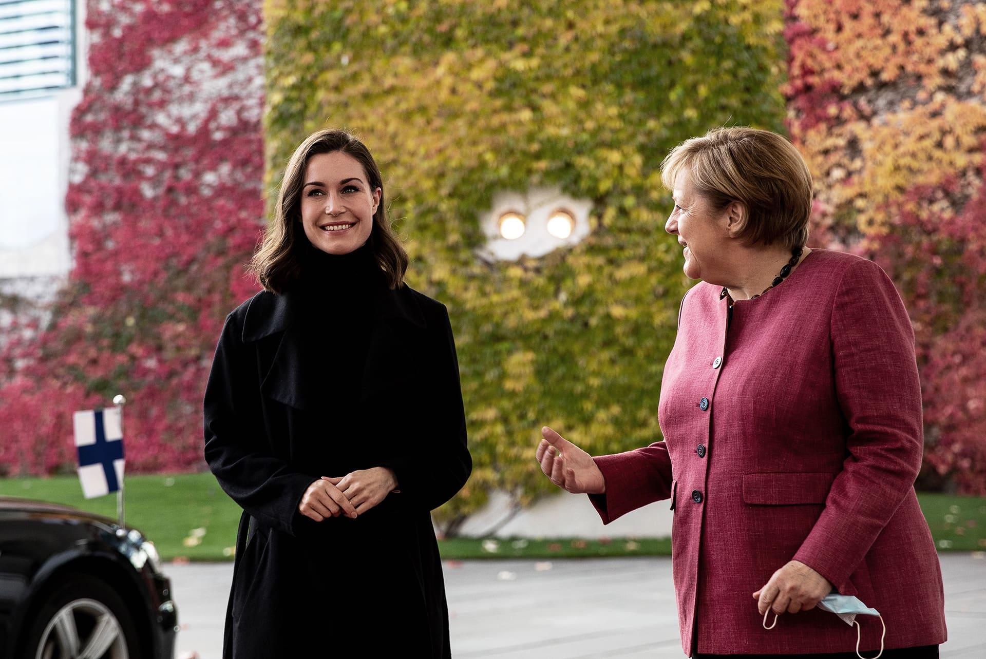 Pääministeri Sanna Marin tapaa Saksan väistyvän liittokanslerin