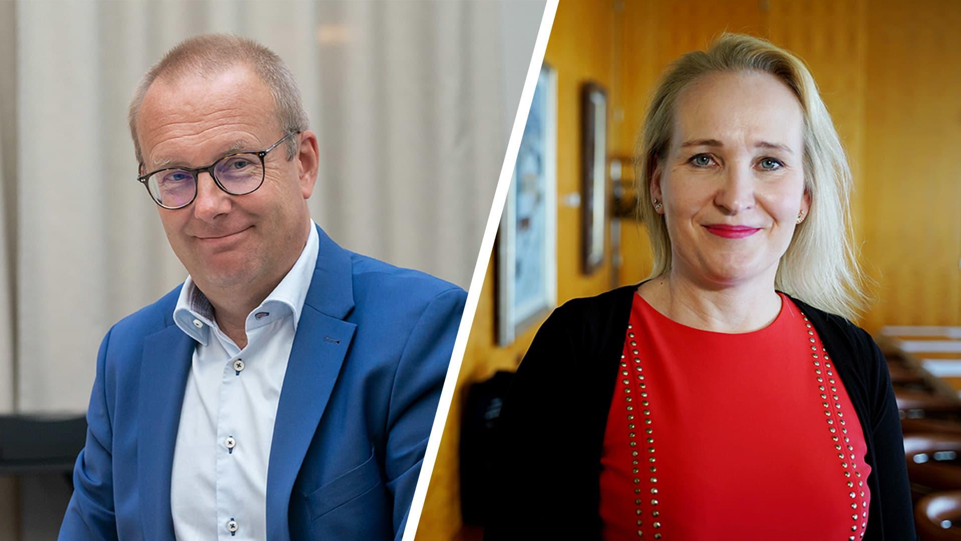 SAK:n puheenjohtaja Jarkko Eloranta ja Teknologiateollisuuden varatoimitusjohtaja Minna Helle.