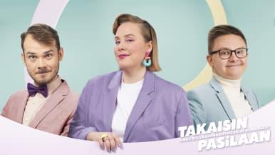 Takaisin Pasilaan -podcast. Juontajat Toivo Haimi, Marjukka Mattila ja Sami Lindfors.