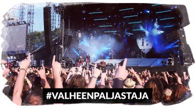 Kuvassa ihmisiä rock-festivaaleilla ja alaosassa teksti #valheenpaljastaja