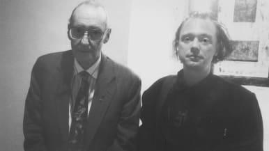 Kirjailija William S. Burroughs ja käsikirjoittaja Kari Hukkila.
