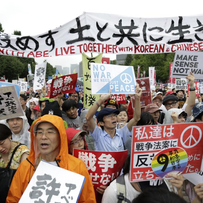 Massiva protester mot japan