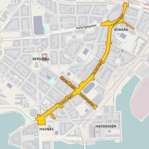 Karta på bilfria Tavastvägen.