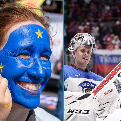 En person som får ansiktsmålning och ishockeyspelare.
