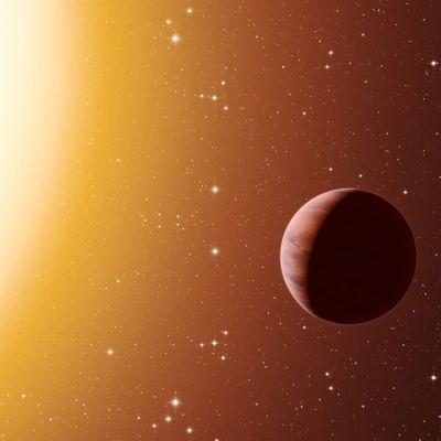 En konstruerad bild av en exoplanet.