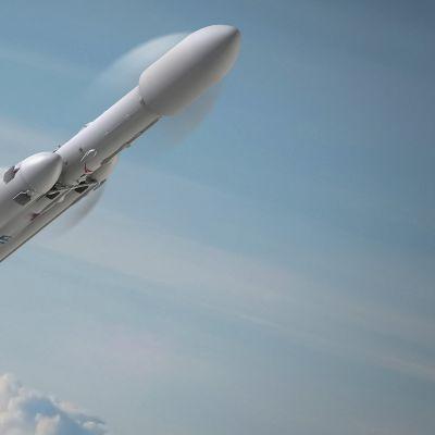 Falcon Heavy-raket i flykt, som konstnären ser det.
