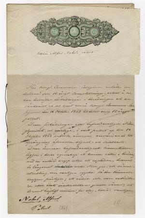 Alfred Nobels patentansökan om patent på tändhatten och principen för initialtändning av nitroglycerin.