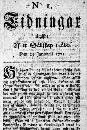 Första sidan av Finlands första tidning, Tidningar utgifne af et Sällskap i Åbo, den från 15 januari 1771.