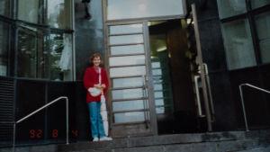 Jenny Carlstedt på Sibelius-Akademins trappa, den allra första studiedagen.