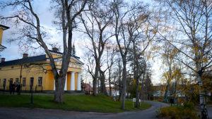 Wiurilan kartano Halikonlahdella. Pylväin koristellut talousrakennukset ovat alun perin C.L. Engelin suunnittelemia.