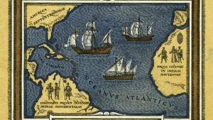 Vanha kartta Kolumbuksen reiteistä