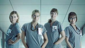 Sykkeen pääosissa sairaanhoitajina nähdään Iina Kuustonen, Tiina Lymi, Leena Pöysti ja Lena Meriläinen