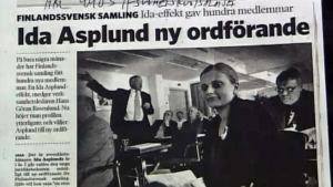 Bild på en tidningsartikel om Ida Asplund
