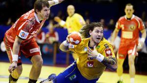Andreas Nilsson ligger i vid EM 2014.