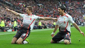 Steven Gerrard och Luis Suarez gjorde målen mot United.