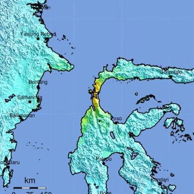 Epicentret för jordskalvet fanns nära staden Palu på ön Sulawesi