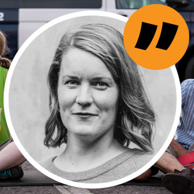 En bild på Extinction Rebellion-demonstranter i Helsingfors och en bild på redaktör Marianne Sundholm.