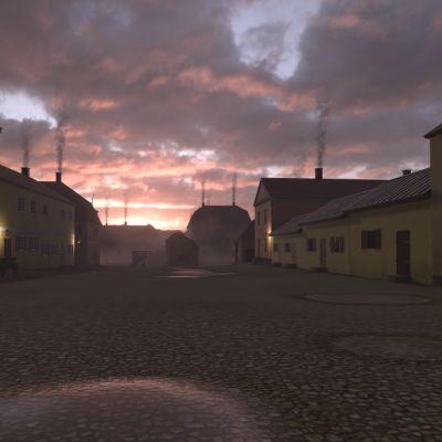 Vuonna Turun 1812 Turun Vanhan Suurtorin ympäristö virtuaalimallinnoksessa.