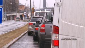 Polisen radade upp bilarna på sin razzia i Vasa.