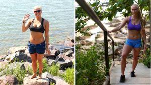 Stefanie Hagelstam innan hon började träna, och efter att ha tränat i ett drygt år.