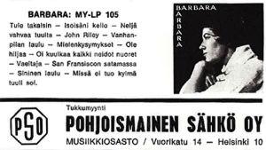 Pohjoismainen Sähkö Oy:n mainos Barbara Helsingiuksen lp-levystä Iskelmä-lehdessä 5/1966.
