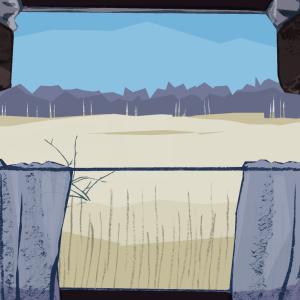Ohitse liikkuva maisema junan hytin ikkunasta