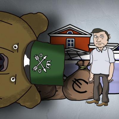 Animerad bild med en man omringad av skattebjörn, en säck pengar, ett hus och en lyxig båt.