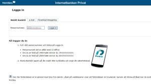 Inloggningssida till Nordeas nätbank.