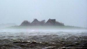 Översvämning i Hallig Langeness norra Tyskland