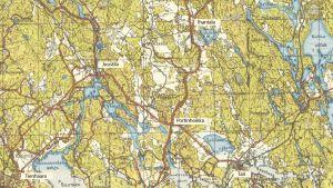 Kartta Tali-Ihantalan alueesta